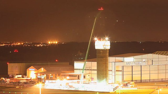 The air traffic control tower being built at Manchester Airport
