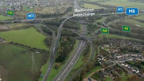 The M8 becomes an A-road for a six-mile stretch in North Lanarkshire
