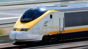 A train using the HS1 Channel Tunnel rail link