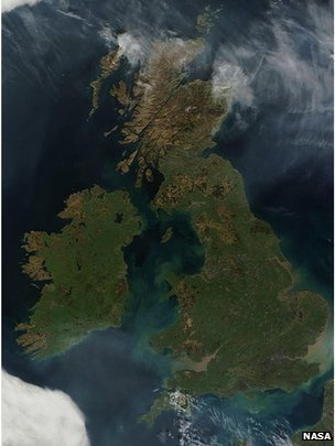 Satellite image of cloudless Britain