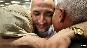 Ashraf al-Hajuj hugs his mother and father in Bulgaria after his release (July 2007)
