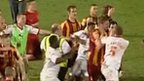 Bradford City and Crawley Town players fight