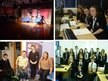 A collection of four images that show the team at De Aston School and the set that they prepared for their broadcast
