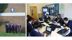 Bournville School pose in front of their school building (left) and gathered around a desk whilst busy at work
