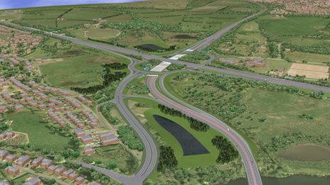 The new Raith interchange will take the M74 over the roundabout