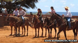 Group of riders at Kauai All-Girls Rodeo, Hawaii