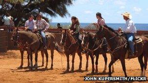 Group of riders at Kauai All-Girls Rodeo, Hawaii