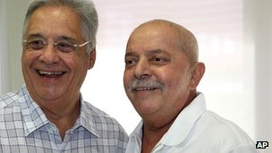 Luiz Inacio Lula da Silva poses with another former Brazilian President, Fernando Henrique Cardoso, at the hospital where he was being treated for cancer (27 March 2012)