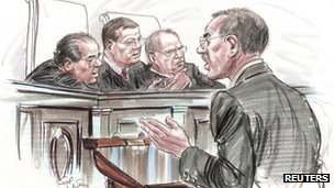 Court sketch of US Solicitor General Don Verrilli Jr addressing the Supreme Court, Washington, DC, 27 March 2012