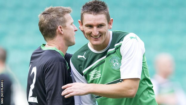Scott (right) has not played for Hibs since 22 February