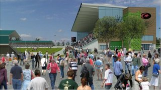 Artist&#039;s impressions of the refurbished Copthall stadium