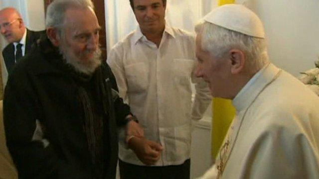 Pope Benedict XVI meets Fidel Castro in Havana during his three-day visit to Cuba