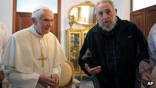 Pope Benedict XVI meets Fidel Castro in Havana