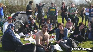 Occupy protesters and residents at Leyton Marsh