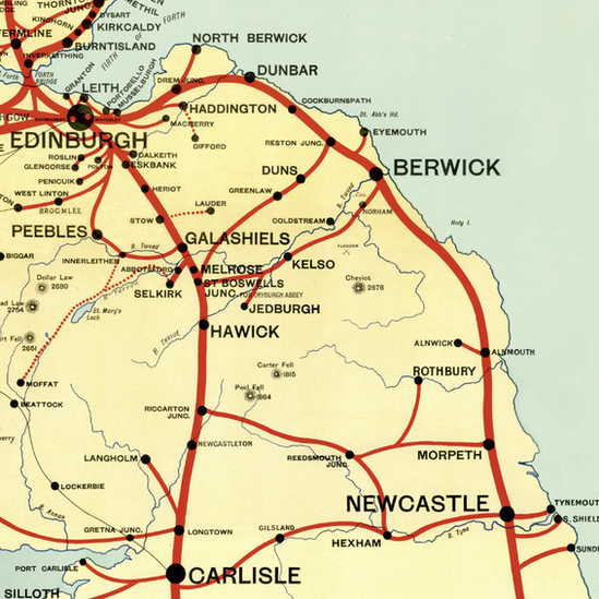 Bbc news in pictures rise and fall of borders railway stations the 1896 north british railway map captured probably the peak of rail passenger services throughout the borders publicscrutiny Gallery