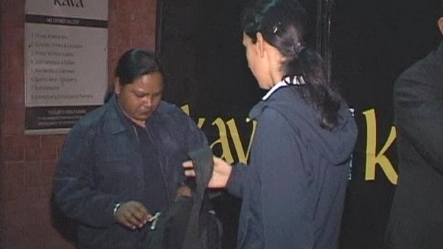 A female bouncer at a nightclub in Chandigarh