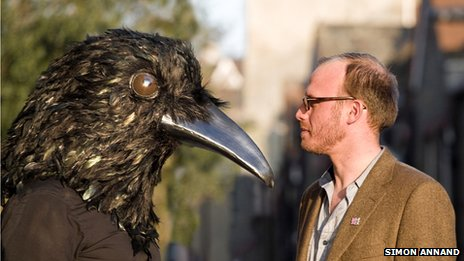 Crow mask with Handspring's Mervyn Millar (Photo: Simon Annand)