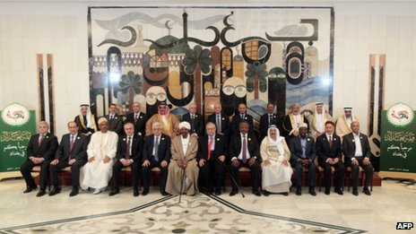Arab League leaders and envoys gather for a group photo in Baghdad, 29 March