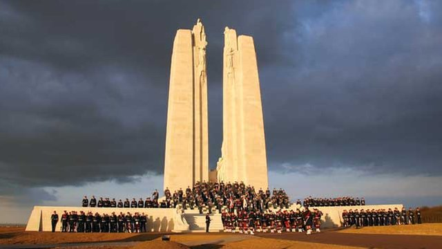 Canadian soldiers take part in a service at Vimy Ridge in northern France