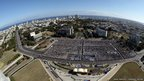 An aerial view shows thousands of people gathering in Revolution Square, Havana, Cuba