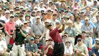 Tiger Woods hits a tee shot at the Masters