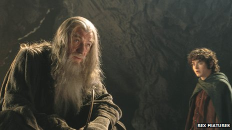 Ian McKellen as Gandalf and Elijah Wood as Frodo in The Lord of the Rings