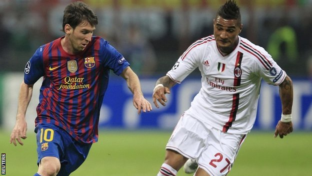 Lionel Messi and Kevin Prince Boateng
