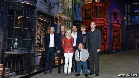 Harry Potter Producer David Barron, Tom Felton (Draco Malfoy), Evanna Lynch (luna Lovegood), producer David Heyman, Rupert Grint (Ron Weasley), Warwick Davis (Professor Filius Flitwick) and Director David Yates