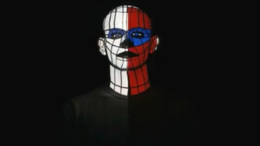 A face in red, blue and white