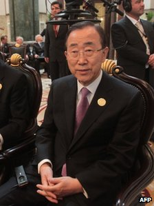 Ban Ki-moon sitting down at the summit