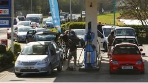 Drivers queue for petrol and diesel at a petrol station
