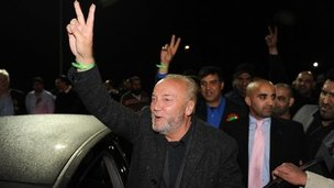 George Galloway celebrating with his supporters