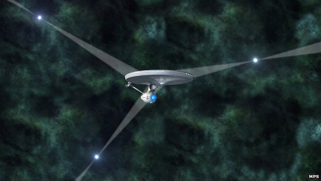 Artist's impression of Enterprise navigating by pulsar