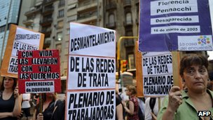 Campaigners in Argentina hold up banners with the names of missing people, 3 Nov 2010
