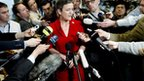 Denmark&#039;s Economy Minister Margrethe Vestager talks to press