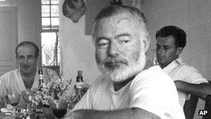 Ernest Hemingway with his friend Gianfranco Ivancich (right)