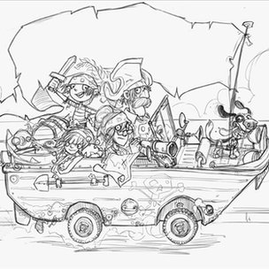 An early version of cover for The Pirates Next Door by Jonny Duddle