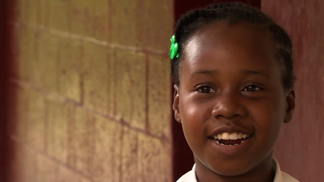 Girl from Waldensia Primary in Jamaica describing her school assembly