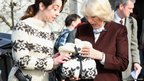 Actress Sofie Grabol presented Camilla, Duchess of Cornwall with gifts during a visit to the set of Danish TV Series The Killing in Copenhagen, Denmark