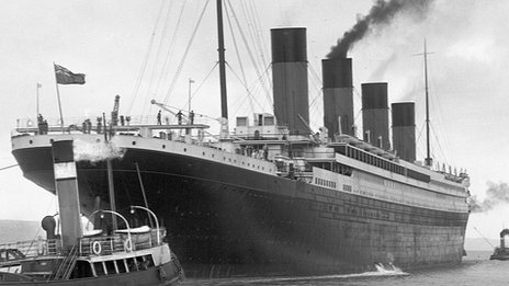 Titanic being tuggest out to sea