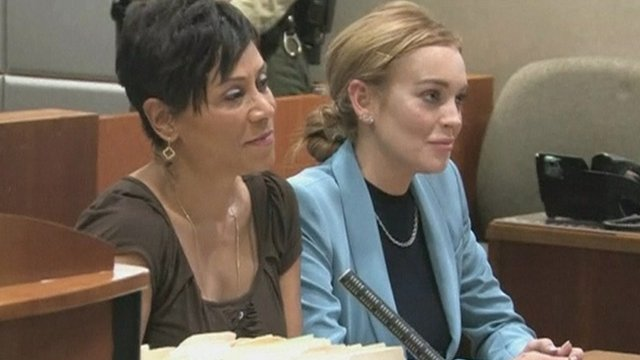 Lindsay Lohan in court with lawyer