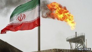 An Iranian oil production platform at the Soroush oil fields in the Persian Gulf