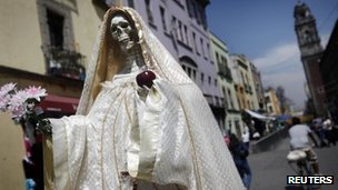 A statue of &quot;Saint Death&quot; is seen in Mexico City March 7, 2012. 