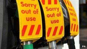 Closed petrol pumps