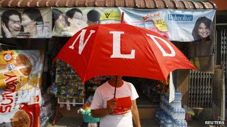 NLD supporter in Mayangone Township, Rangoon, 31 March 2012