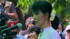Aung San Suu Kyi campaigns for votes