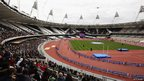Competitors run around the Olympic Stadium during the National Lottery Olympic Park Run at Olympic Stadium