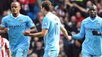 Vincent Kompany, Edin Dzeko and Mario Balotelli