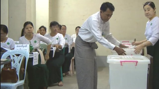 Inside a polling station in Rangoon, Burma
