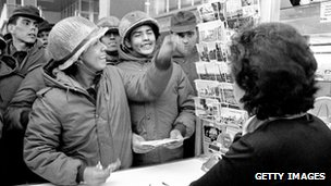 Argentine soldiers buy postcards on the Falkland Islands in 1982. File pic: Getty